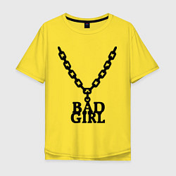 Футболка оверсайз мужская Bad girl chain цвета желтый — фото 1