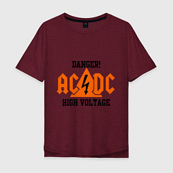 Футболка оверсайз мужская AC/DC: High Voltage цвета меланж-бордовый — фото 1