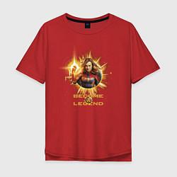 Футболка оверсайз мужская Capt Marvel: Become a Legend цвета красный — фото 1