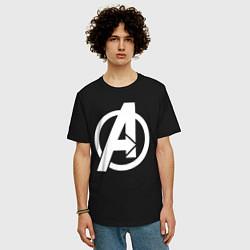 Футболка оверсайз мужская Avengers Symbol цвета черный — фото 2