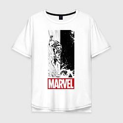 Мужская удлиненная футболка с принтом Iron Man: Marvel, цвет: белый, артикул: 10178139305753 — фото 1