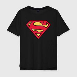 Футболка оверсайз мужская Superman logo цвета черный — фото 1