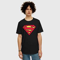 Футболка оверсайз мужская Superman logo цвета черный — фото 2