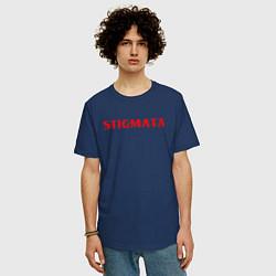 Мужская удлиненная футболка с принтом Stigmata, цвет: тёмно-синий, артикул: 10203595105753 — фото 2