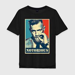 Мужская удлиненная футболка с принтом Notorious, цвет: черный, артикул: 10203978305753 — фото 1