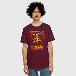 Футболка оверсайз мужская Sum 41 Order In Decline цвета меланж-бордовый — фото 2