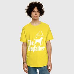 Футболка оверсайз мужская The Dogfather - пародия цвета желтый — фото 2