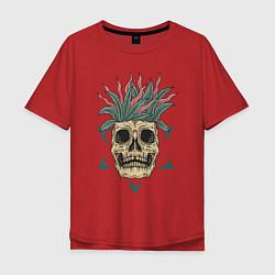 Мужская удлиненная футболка с принтом Череп Моргенштерна, цвет: красный, артикул: 10274274305753 — фото 1