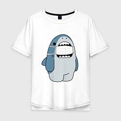 Футболка оверсайз мужская Акула в маске цвета белый — фото 1