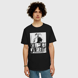 Мужская удлиненная футболка с принтом Haikyuu!! Kuroo & Bokuto, цвет: черный, артикул: 10277111105753 — фото 2