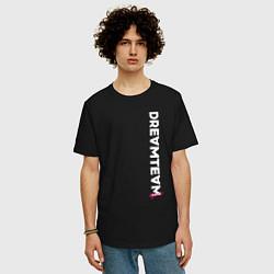 Мужская удлиненная футболка с принтом DreamTeam, цвет: черный, артикул: 10278383905753 — фото 2