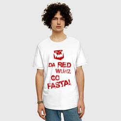 Футболка оверсайз мужская Только красное ездит быстро цвета белый — фото 2