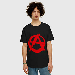 Футболка оверсайз мужская Символ анархии цвета черный — фото 2