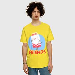 Футболка оверсайз мужская Молоко цвета желтый — фото 2