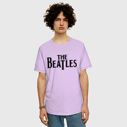 Футболка оверсайз мужская The Beatles цвета лаванда — фото 2
