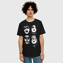 Футболка оверсайз мужская Kiss Faces цвета черный — фото 2