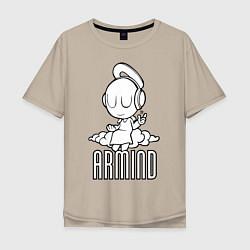 Мужская удлиненная футболка с принтом Armind, цвет: миндальный, артикул: 10061115505753 — фото 1