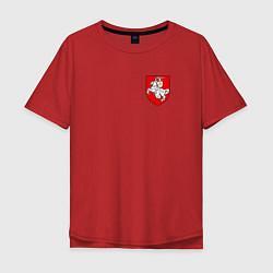 Футболка оверсайз мужская Погоня: герб цвета красный — фото 1