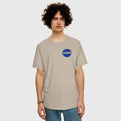 Футболка оверсайз мужская NASA цвета миндальный — фото 2