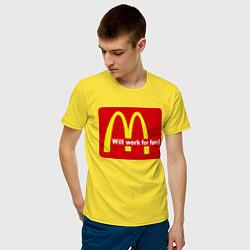 Футболка хлопковая мужская Will work for food цвета желтый — фото 2