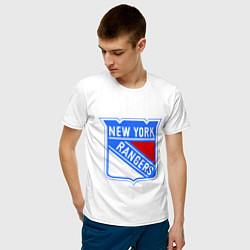Футболка хлопковая мужская New York Rangers цвета белый — фото 2