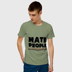 Футболка хлопковая мужская Hate People цвета авокадо — фото 2