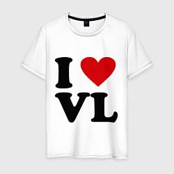 Футболка хлопковая мужская I love VL цвета белый — фото 1