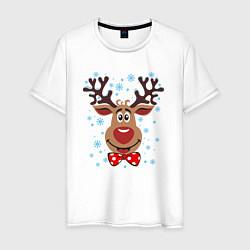 Футболка хлопковая мужская Рождественский олень цвета белый — фото 1