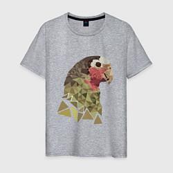 Мужская хлопковая футболка с принтом Полигональный попугай, цвет: меланж, артикул: 10119809900001 — фото 1