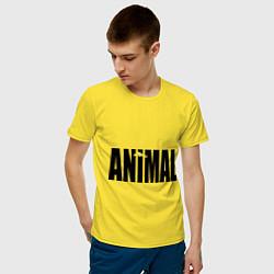 Футболка хлопковая мужская Animal цвета желтый — фото 2