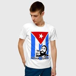 Футболка хлопковая мужская Fidel: Viva, Cuba! цвета белый — фото 2
