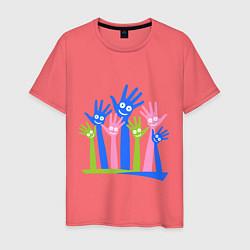Футболка хлопковая мужская Hands Up цвета коралловый — фото 1