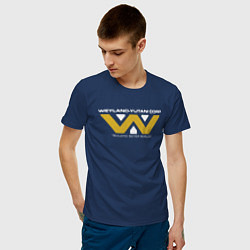 Мужская хлопковая футболка с принтом Weyland-Yutani, цвет: тёмно-синий, артикул: 10127095100001 — фото 2