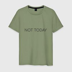 Мужская хлопковая футболка с принтом Not today, цвет: авокадо, артикул: 10129760000001 — фото 1