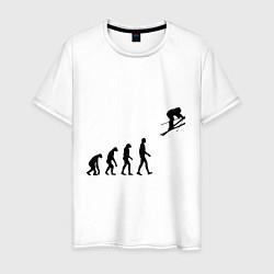Футболка хлопковая мужская Эволюция лыжник цвета белый — фото 1