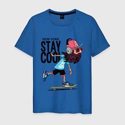Футболка хлопковая мужская Stay cool цвета синий — фото 1