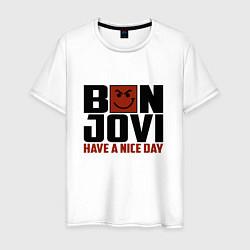 Футболка хлопковая мужская Bon Jovi: Nice day цвета белый — фото 1