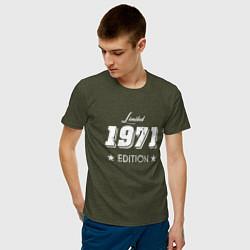 Футболка хлопковая мужская Limited Edition 1971 цвета меланж-хаки — фото 2
