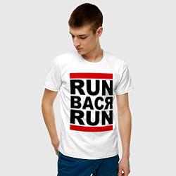 Футболка хлопковая мужская Run Вася Run цвета белый — фото 2