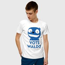 Футболка хлопковая мужская Vote Waldo цвета белый — фото 2