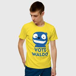 Футболка хлопковая мужская Vote Waldo цвета желтый — фото 2