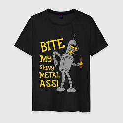 Футболка хлопковая мужская Bite my shunny metal ass цвета черный — фото 1