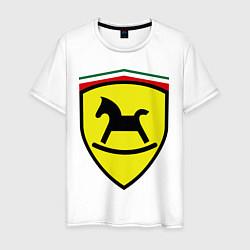 Футболка хлопковая мужская Ferrari: Kid Horse цвета белый — фото 1