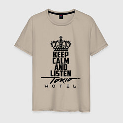 Футболка хлопковая мужская Keep Calm & Listen Tokio Hotel цвета миндальный — фото 1