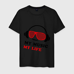 Футболка хлопковая мужская My music my life цвета черный — фото 1