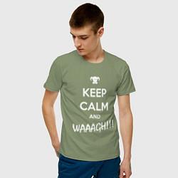 Футболка хлопковая мужская Keep Calm & WAAAGH цвета авокадо — фото 2