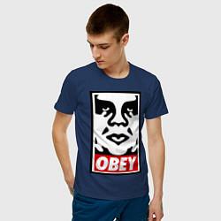 Футболка хлопковая мужская OBEY Face цвета тёмно-синий — фото 2
