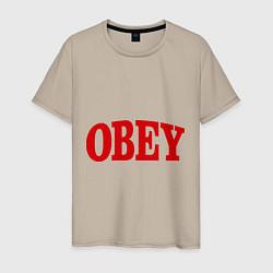 Футболка хлопковая мужская OBEY цвета миндальный — фото 1