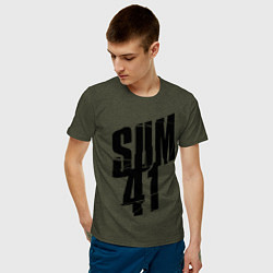 Футболка хлопковая мужская Sum Forty One цвета меланж-хаки — фото 2