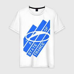 Мужская хлопковая футболка с принтом A state of trance, цвет: белый, артикул: 10014954900001 — фото 1
